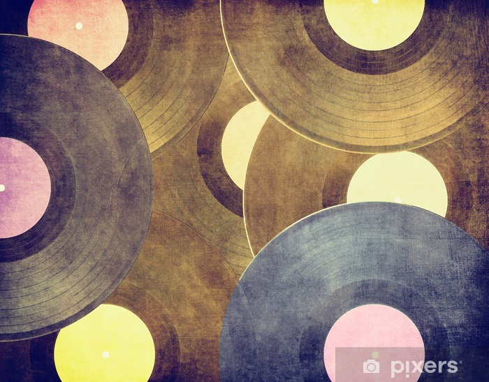 Vintage musical background, vinyl records Lack Table Veneer - Styles