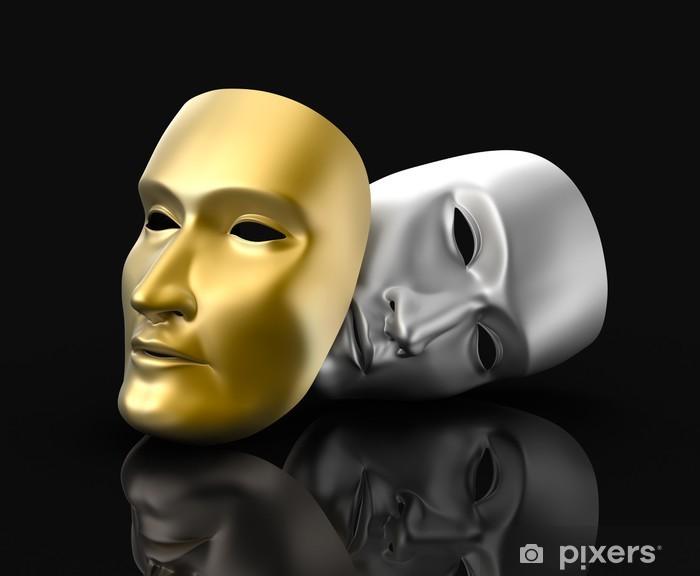 Theater masks concept. On black background. Pixerstick Sticker - Entertainment