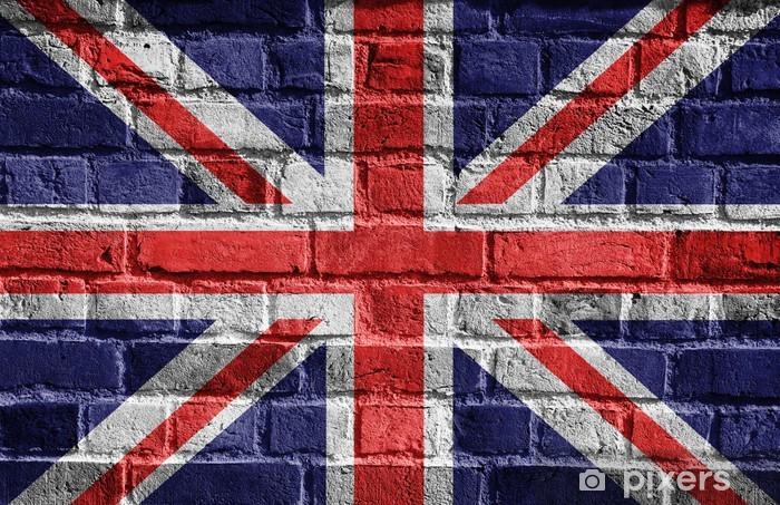 Fototapeta winylowa Great Britain flag na ceglany mur -