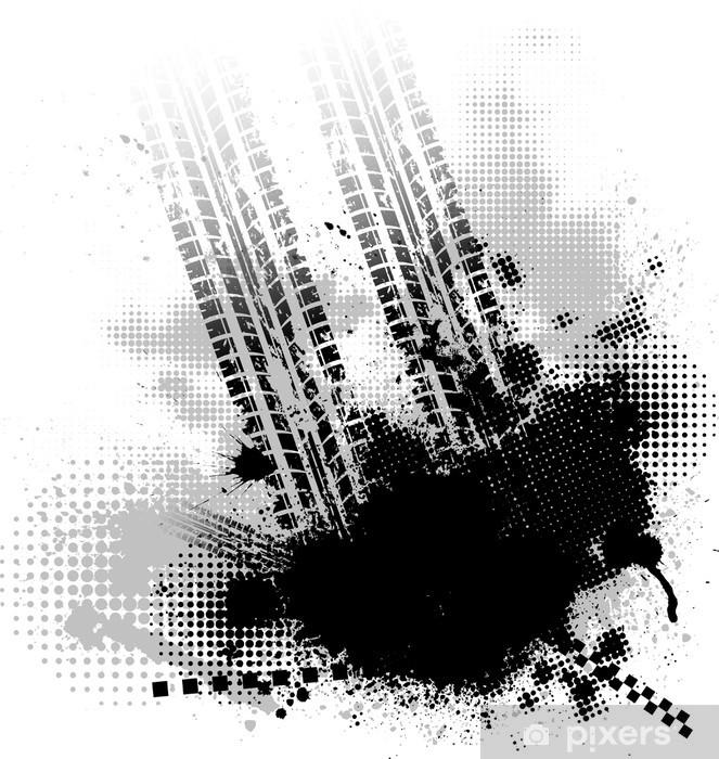 Vinyl-Fototapete Gummireifenspur schwarzem Hintergrund - Hintergründe
