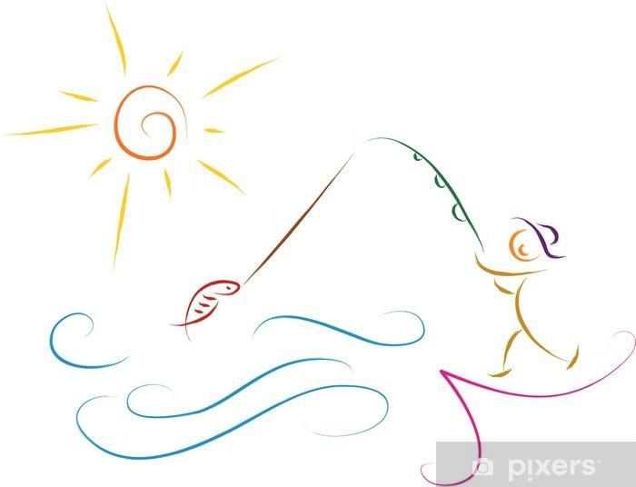Balıkçılık Adam Kroki Vektör çizim Duvar Resmi Pixers Haydi