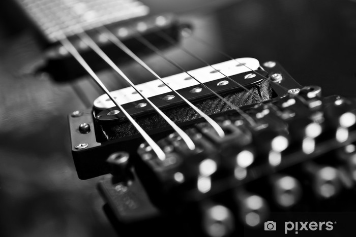 Strings electric guitar closeup in black tones Pixerstick Sticker - Jazz