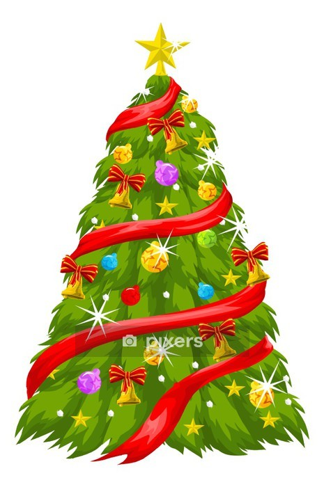 Christmas Tree Illustration.Christmas Tree Illustration Wall Decal