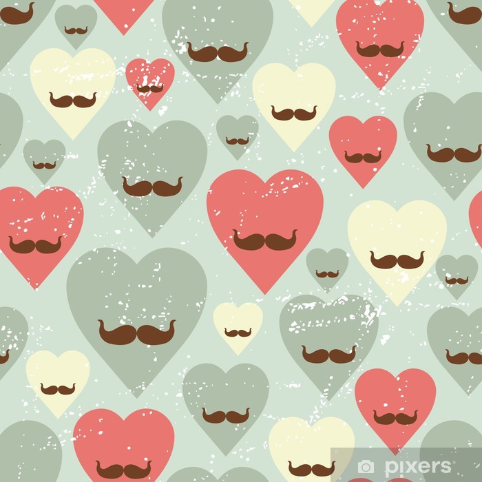 Poster Valentine nahtlose Muster mit Herzen und Schnauzbart. - Hintergründe