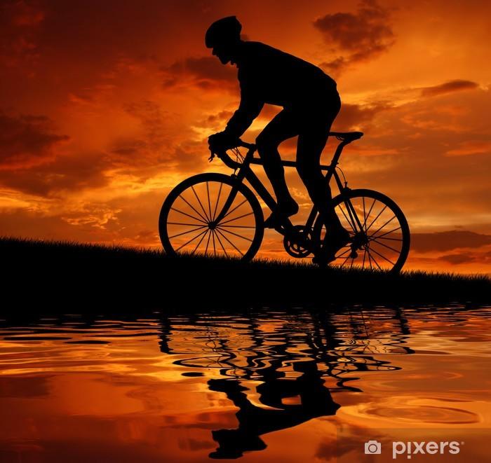 Papier peint vinyle Silhouette du cycliste vélo de route - Cyclisme