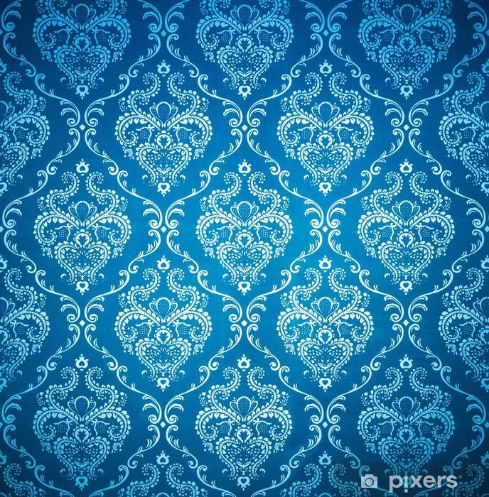 Seamless Damask Blue Wallpaper Vinyl Wall Mural Themes