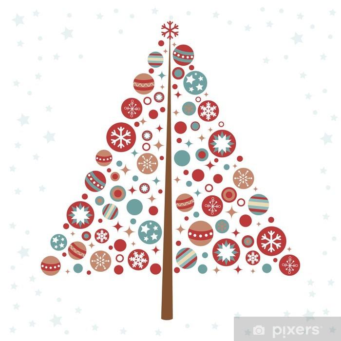 Adesivo Disegno Stilizzato Albero Di Natale Con I Giocattoli Di