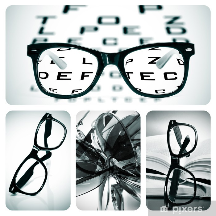 0f54a59d2023 eyeglasses collage Pixerstick Sticker - Health and Medicine