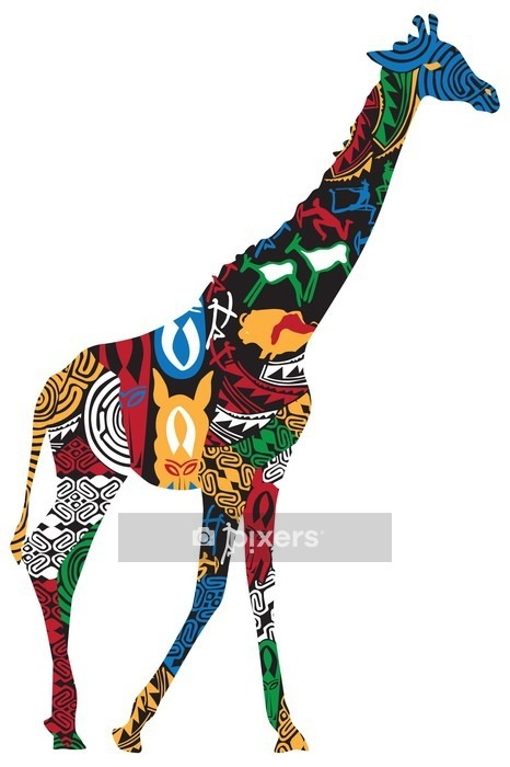 Giraffe in the African ethnic patterns Wall Decal - Wall decals
