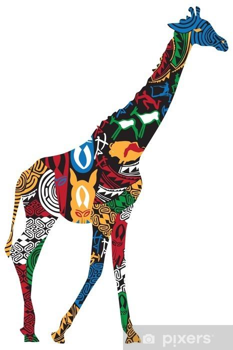 Vinylová fototapeta Žirafa v afrických etnických vzorů - Vinylová fototapeta