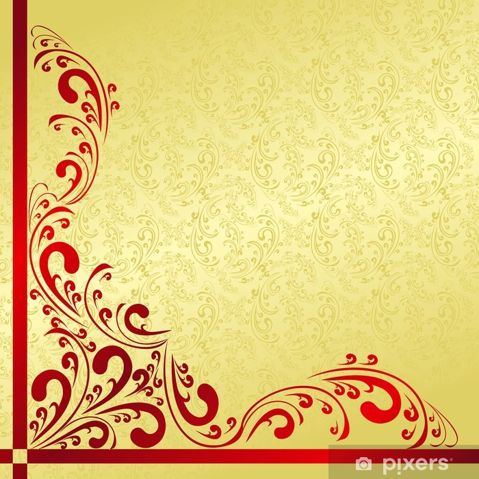 Parfait Luxury Background Decorated A Vintage Border: Gold And Red. Vinyl Wall Mural    Backgrounds