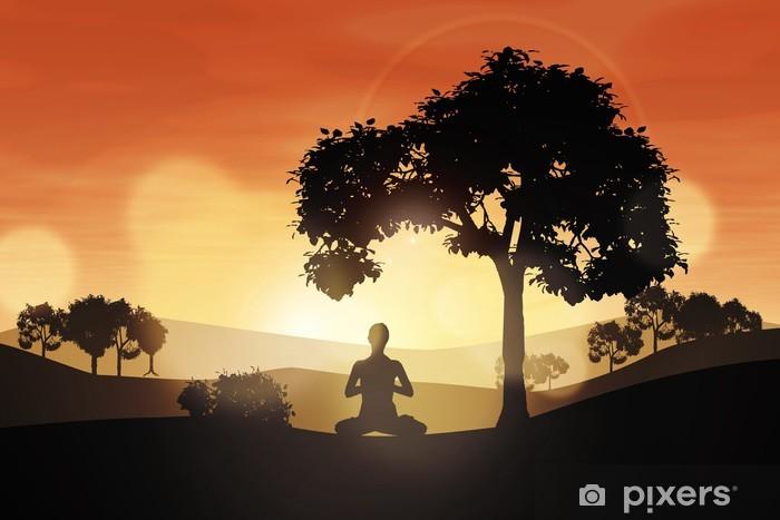 Papier peint vinyle Sunset Yoga - Montagne