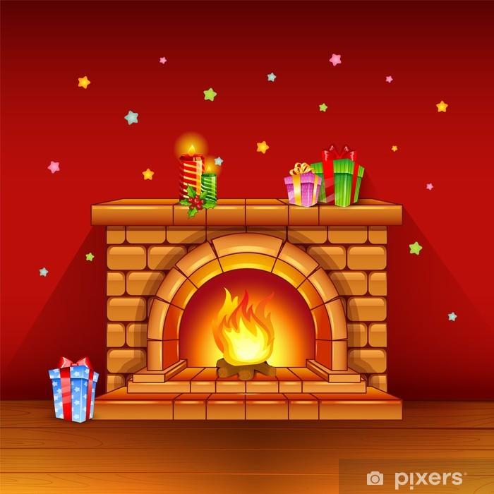 Poster Cheminée avec des bougies et des cadeaux sur fond rouge - Maisons et jardins