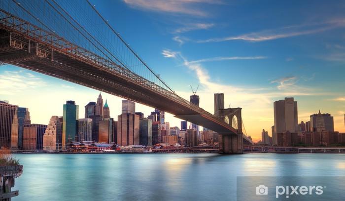 Pont de Brooklyn vers Manhattan, New York. Pixerstick Sticker -