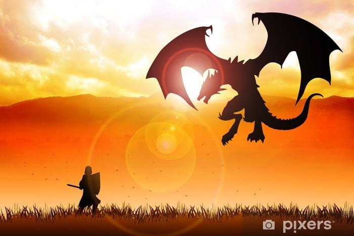 Papier peint vinyle Silhouette illustration d'un chevalier combattant un dragon - Chevaliers