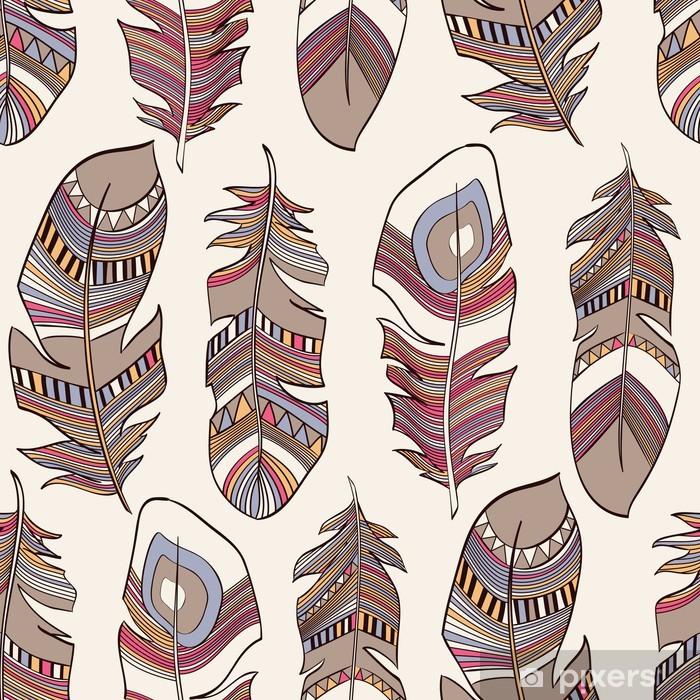 Plakat Bez szwu etnicznych Indian wzór upierzenie pióra - Style