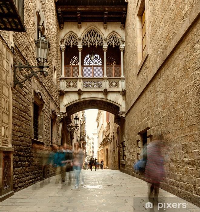 Carta da Parati in Vinile Bridge at Carrer del Bisbe in Barri Gotic, Barcelona - Temi