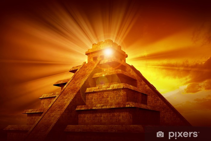 Sticker Pixerstick Pyramide maya de mystère - Monuments