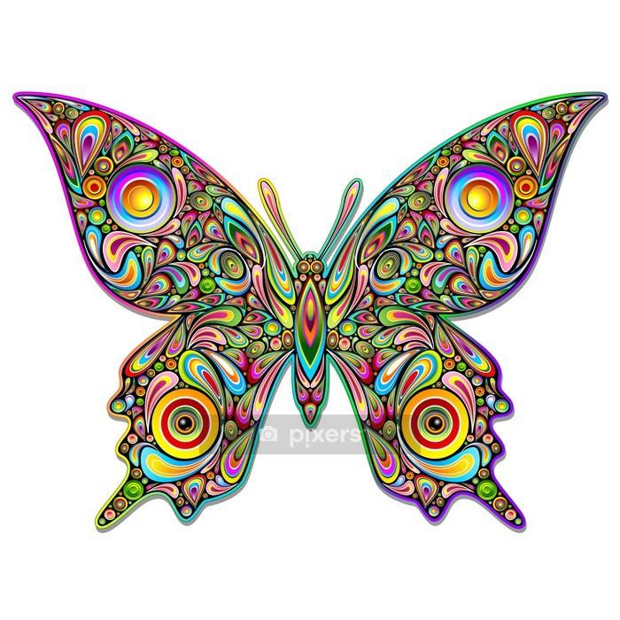 Vinilo para Pared Psychedelic mariposa del estilo del arte de la mariposa de diseño psicodélico- - Animales