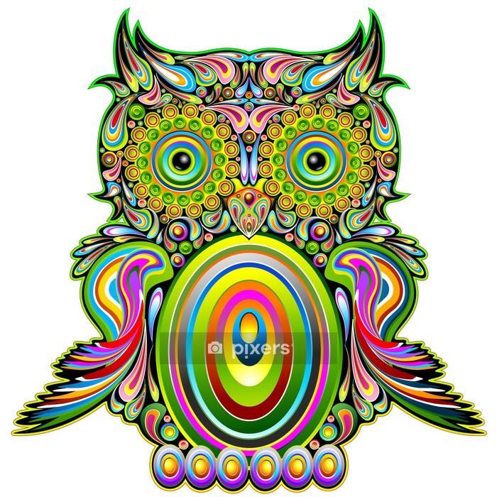 Vinilo para Pared Owl Psychedelic Pop psicodélico del arte decorativo de diseño Búho - Destinos