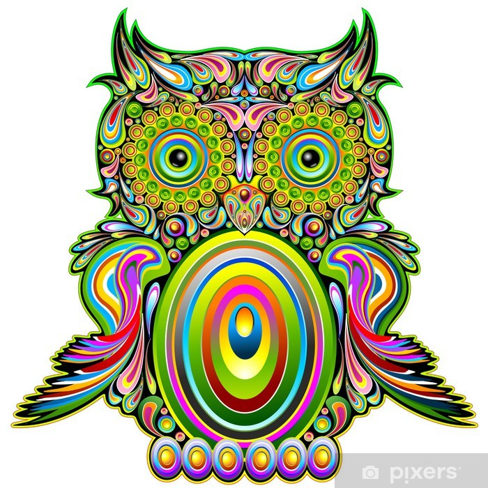 Owl Psychedelic Pop Art Design-Gufo Psichedelico Decorativo Vinyl Wall Mural - Destinations