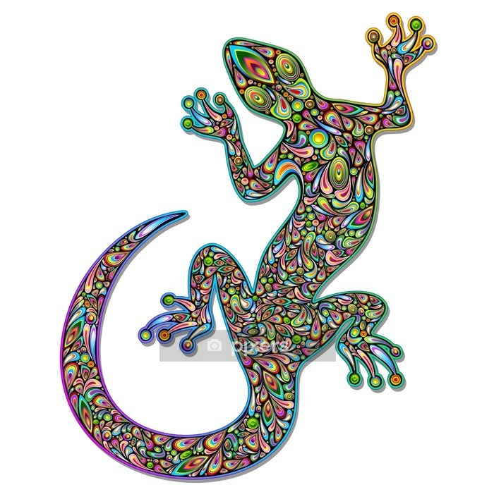 Vinilo para Pared Gecko lagarto Geko Psychedelic Art Design Geco psichedelico - Vinilo para pared