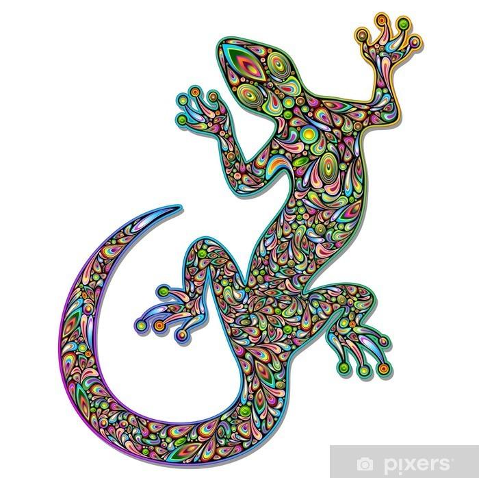 Gecko Geko Lizard Psychedelic Art Design-Geco Psichedelico Vinyl Wall Mural - Wall decals