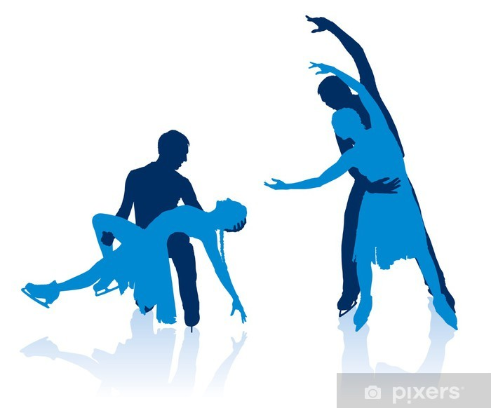 Silhouettes of pairs figure skaters Vinyl Wall Mural - Individual Sports