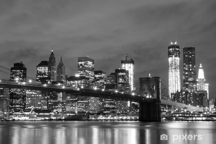 Brooklyn Bridge and Manhattan Skyline At Night, New York City Vinyl Wall Mural -