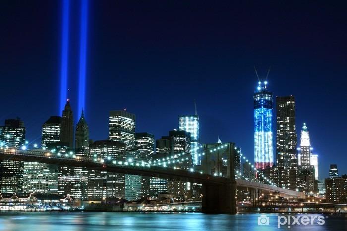 Vinyl Fotobehang Brooklyn Brigde en de Torens van Lichten, New York -
