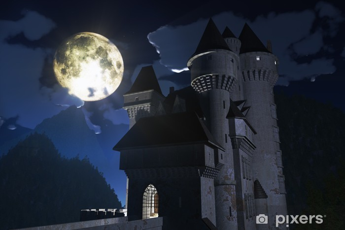 Castle At Night In The Mountains 3d Render Wall Mural Pixers We