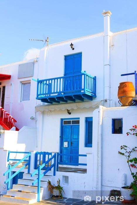 Naklejka Pixerstick Miło zobaczyć drewniane ramki wyspie Mykonos Grecja Cyklady - Miasta europejskie