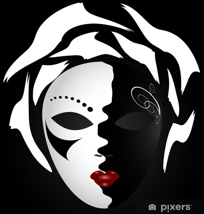 black-white mask Vinyl Wall Mural - Fashion