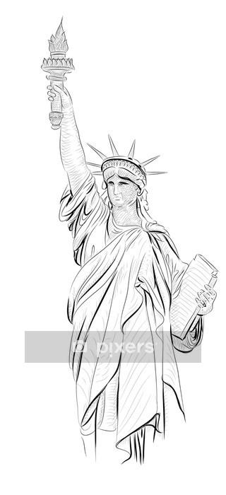 Muursticker Vector World beroemde collectie oriëntatiepunt: Statue of Liberty, N - Muursticker