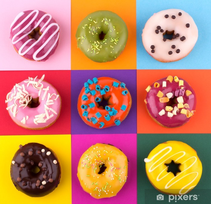 Donuts isolated on colorful background Pixerstick Sticker - Sweets and Desserts