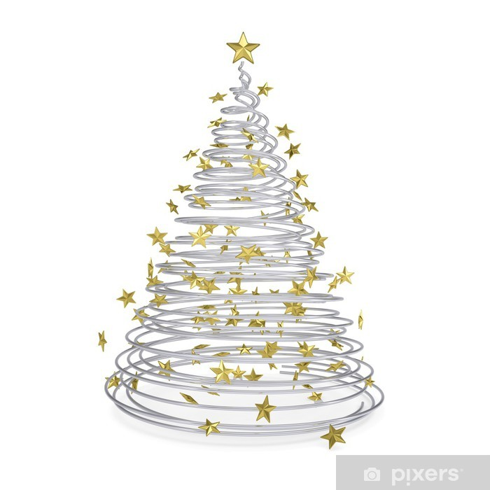 Metal Christmas Tree.3d Christmas Tree Made Of Metal Spirals And Gold Stars Wall Mural Vinyl