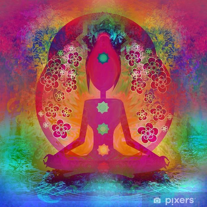 Sticker Pixerstick Yoga pose de lotus. Padmasana avec des points de chakra de couleur. - Femmes