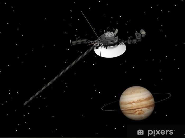 Vinilo Pixerstick Voyager nave espacial cerca de Júpiter y su anillo desconocido - 3D render - Espacio exterior