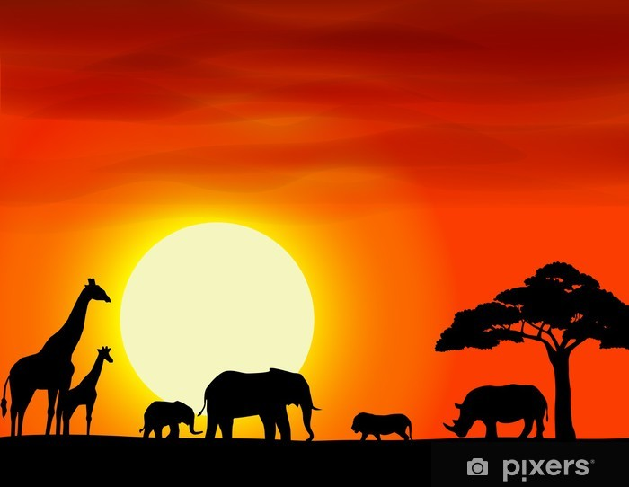 Africa Safari Landscape Background Wall Mural Pixers