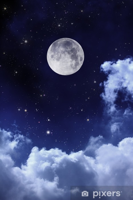 cloudy night sky with moon and star Washable Wall Mural - Themes