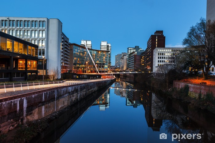 164 - urban building manchester irwell river Pixerstick Sticker - Europe