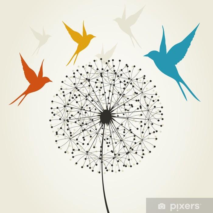 Papier peint vinyle Pissenlit et les oiseaux - Thèmes