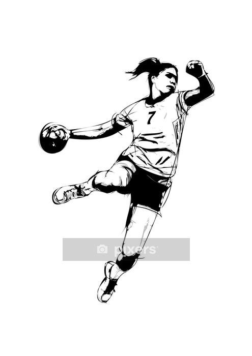 Veggklistremerke Kvinne håndballspiller - Veggklistremerke