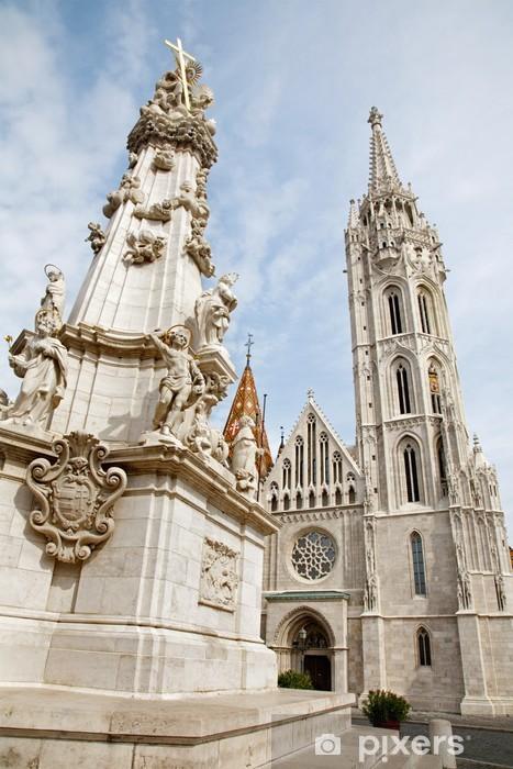 Naklejka Pixerstick Budapeszt - gotycka katedra św Mateusza i kolumna Trójcy - Europa