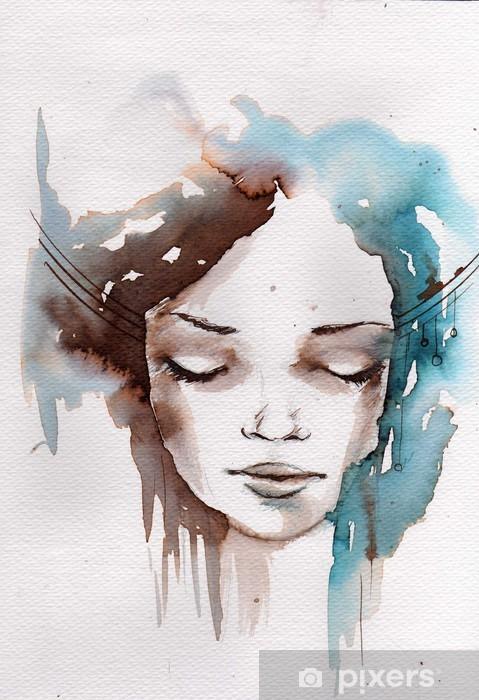 Winter, cold portrait Pixerstick Sticker -
