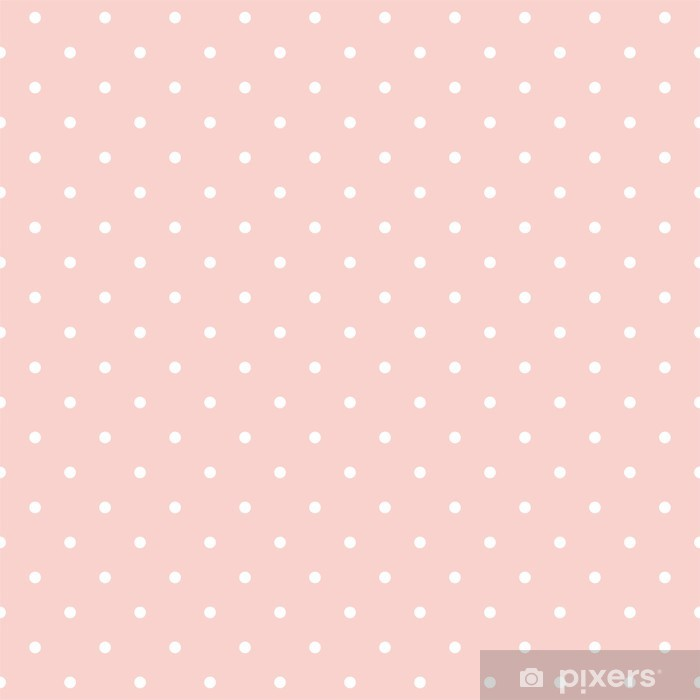 Polka dots on baby pink background seamless vector pattern Vinyl Wall Mural - Themes