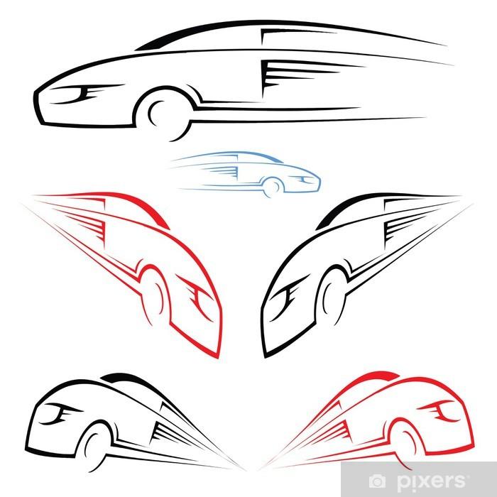 Poster Schnelles Auto Symbol - Straßenverkehr