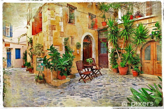 Chania,Crete- old charming streets Vinyl Wall Mural - Themes