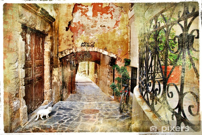 pictorial old streets of Greece, Crete Vinyl Wall Mural - Themes