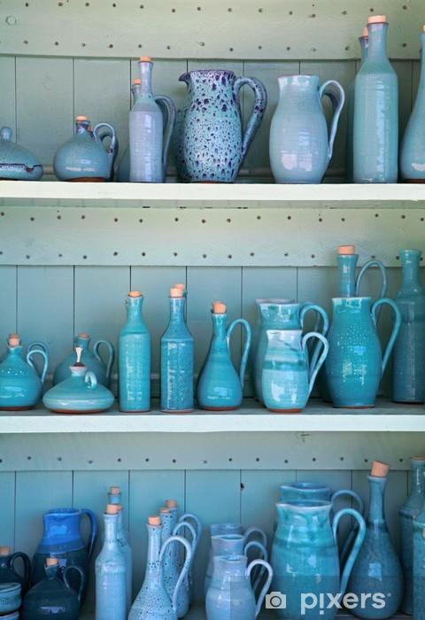 Vinilo Pixerstick Turquesa jarras de cerámica vidriada, Grecia. - Temas